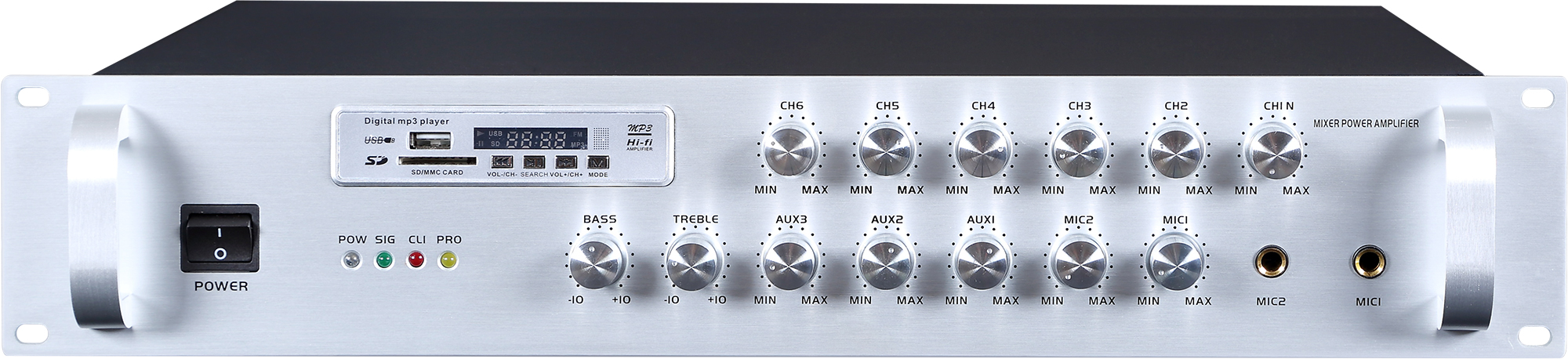 Economy 6 zone PA system mixer amplifier with zone volume co